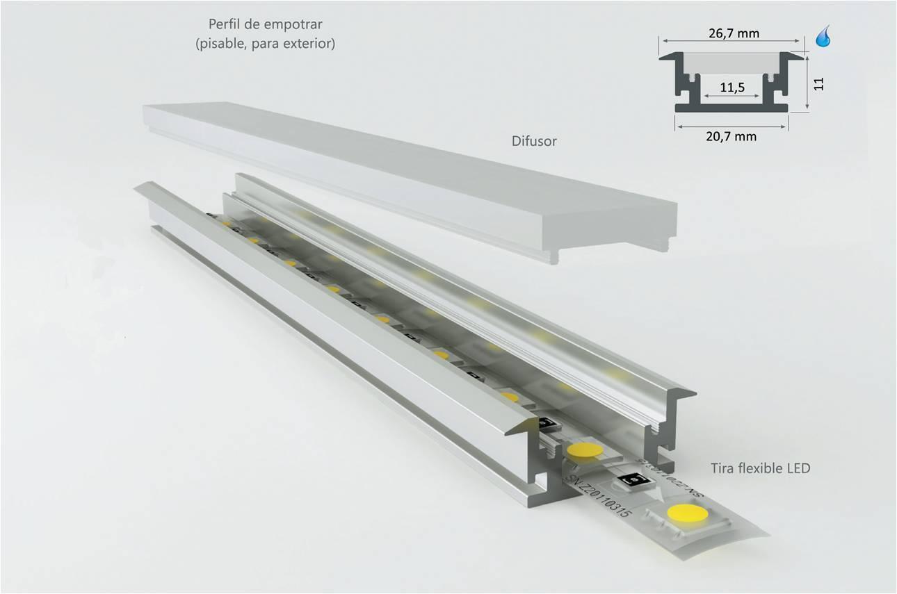 Perfil de aluminio pisable modelo dublin aessistemas es - Perfil aluminio anodizado ...